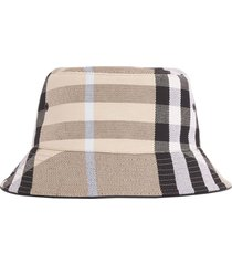 check cotton jacquard bucket hat, dusty sand
