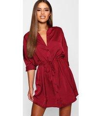 petite satijnen blouse jurk met ceintuur, wijn