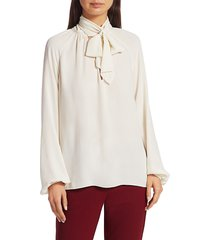 theory women's silk tieneck top - ivory - size m