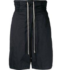 rick owens drkshdw drop-crotch drawstring shorts - black