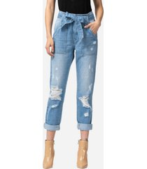 vervet women's super high rise distressed self tie utility jeans