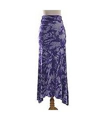 tie-dyed rayon blend jersey maxi skirt, 'aspiring purple' (indonesia)