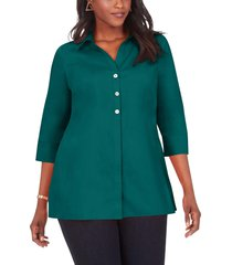 plus size women's foxcroft pamela non-iron stretch tunic blouse