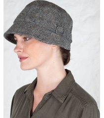 gray wool flapper cap