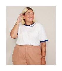 "t-shirt unissex plus size mindset com bordado gender free zone"" manga curta gola redonda branca"""