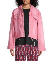 kenzo women's hooded denim jacket - flamingo pink - size s