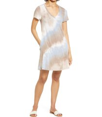 connected apparel tie dye t-shirt dress, size small in mocha at nordstrom