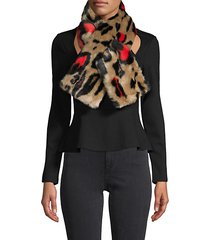animal-print faux fur scarf