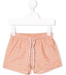 knot batik squares swim shorts - orange