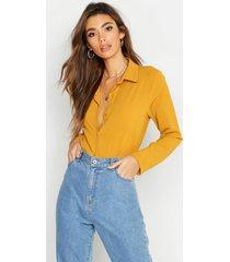 woven shirt, mustard