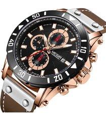 orologio da uomo in pelle cronometrata con orologio da polso al quarzo