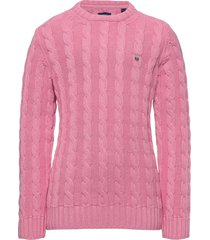 cotton cable crew pullover roze gant