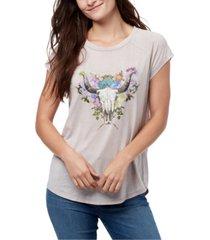 william rast blossom skull graphic t-shirt