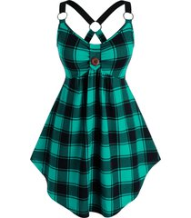 plus size plaid o-ring linked cutout tunic tank top