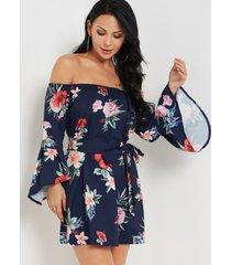 sexy estampado floral al azar fuera del hombro vestido en azul oscuro