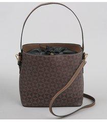 bolsa bucket feminina média estampada geométrica marrom