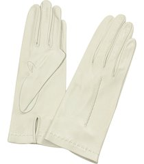 forzieri designer women's gloves, women's ivory unlined italian leather gloves