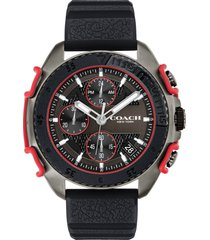 men's coach c001 chronograph silicone strap watch, 45mm