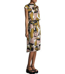 printed silk drape-neck dress