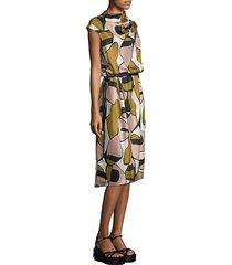 printed silk drape-neck dress