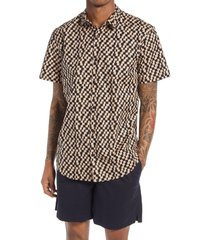 bp. checkered short sleeve button-up shirt, size medium in black - tan phoebe check at nordstrom