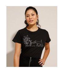 camiseta de algodão plantas e gato manga curta decote redondo preta