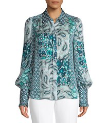 elie tahari women's beck print puff-sleeve silk shirt - ice cap - size s