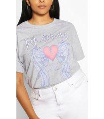plus def lappard heart license t-shirt, light grey