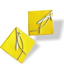 aretes nature amarillo - cuero akapella leather
