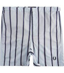 fred perry striped swim shorts | chalk blue | s1522-275
