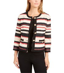anne klein striped braided-trim jacket