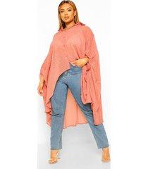 plus oversized dobby chiffon maxi blouse, rose