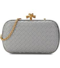 bottega veneta women's intrecciato leather convertible clutch - grey