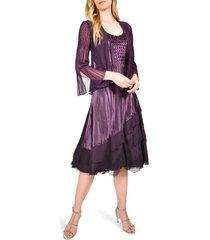 women's komarov ombre tiered hem cocktail dress with chiffon jacket, size medium - purple