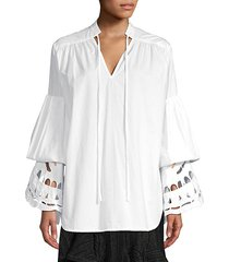 broderie bell sleeve tiered eyelet tunic
