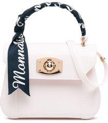 monnalisa logo print ribbon tote bag - neutrals