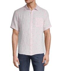 saks fifth avenue men's flamingo regular-fit shirt - pink - size s
