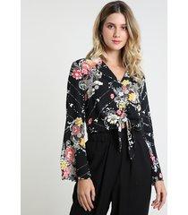 camisa feminina estampada floral com nó manga longa preta