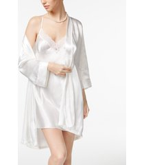 linea donatella mrs-embroidered wrap robe and chemise nightgown set