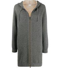 brunello cucinelli long zip-up hoodie - grey