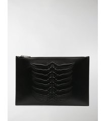 alexander mcqueen embossed zip pouch bag
