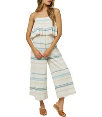 o'neill kenna stripe strapless cotton gauze jumpsuit, size xx-large in winter white at nordstrom