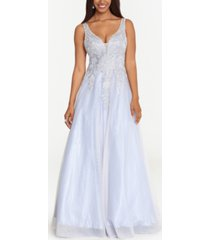 xscape embellished applique ball gown