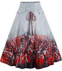 trees print lace-up front skirt