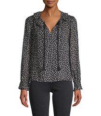 cheetah-print silk & cotton-blend top