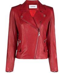 sylvie schimmel glove zip-up biker jacket - red