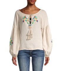 all things mochi women's embroidered linen top - grey - size m