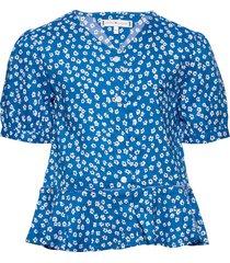 ditsy flower print shirt s/s blouse tuniek blauw tommy hilfiger