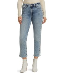 paige women's cindy high-rise piped straight jeans - rizzo - size 32 (10-12)