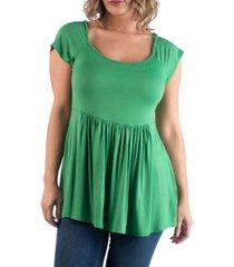 24seven comfort apparel women's plus size cap sleeve babydoll tunic top